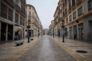 Calle Larios, Málaga's main shopping street, remains empty