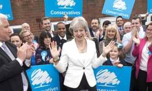 Theresa May meets party supporters in Dudley, which was held by the Tories.