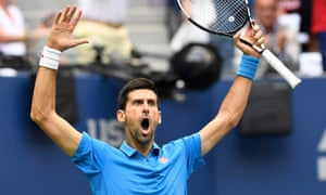 Djokovic reacts after taking the first set.