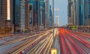 Endless streams of traffic along Sheikh Zayed Road in Dubai.