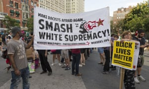 Demonstrators in New York march against the Charlottesville nationalist protests.