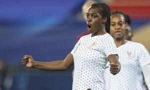 Viviane Asseyi celebrates scoring France's second goal.