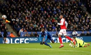 Kelechi Iheanacho scores the second goal after a VAR decision.