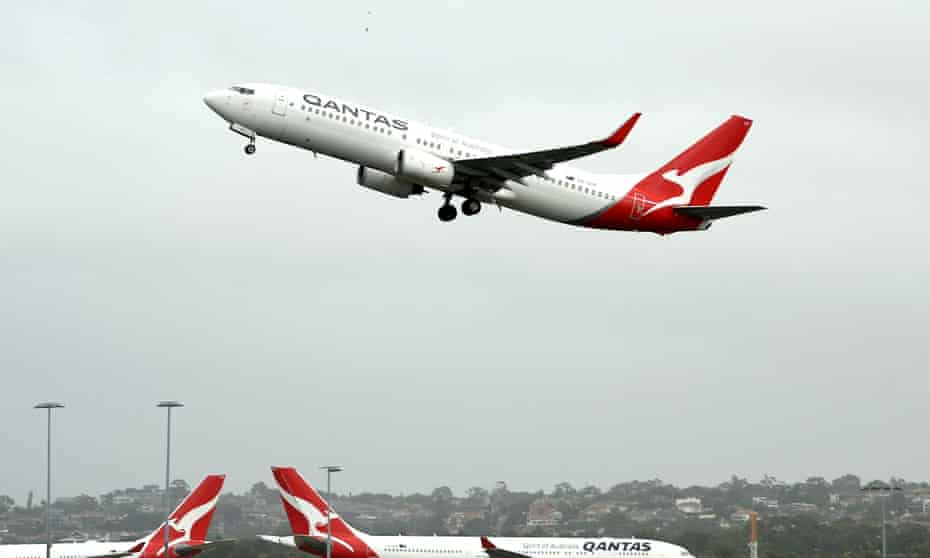 A Qantas plane taking off from Sydney airport