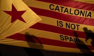 Pro-independence demonstrators in Barcelona taking part in the regional general strike after violence marred Sunday's referendum vote.
