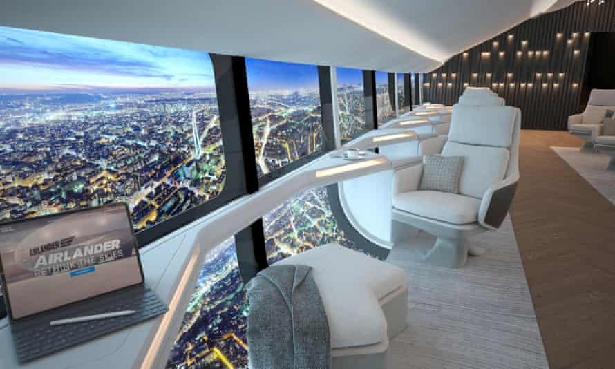 artist's impression of airship Cabin interior designs over city