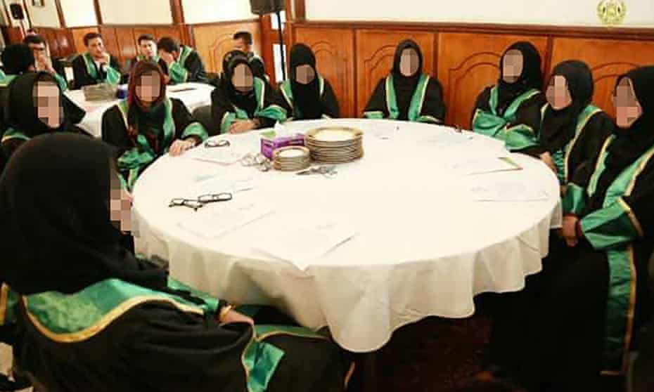 A group of female judges at a formal event in Afghanistan