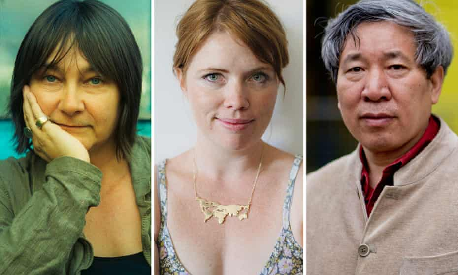 A composite of three authors: (left) Ali Smith, (middle) Clementine Ford, (right) Yan Lianke