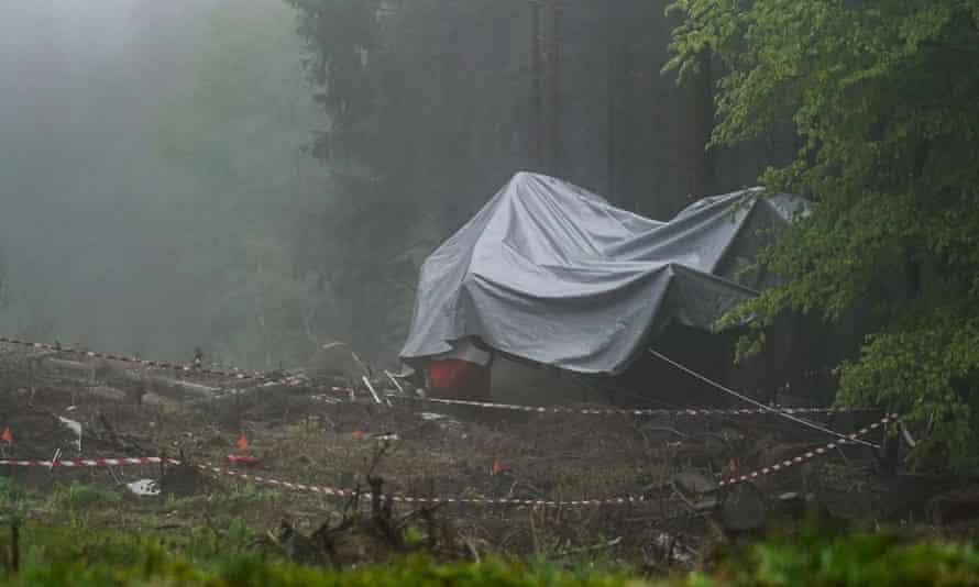 The scene of the Stresa-Mottarone cable car crash near Lake Maggiore in the Piedmont region.