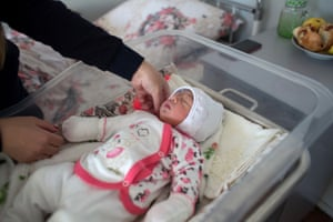 Hasmik Margaryan with her daughter Vika, born four days earlier, at the maternity ward in Sevan