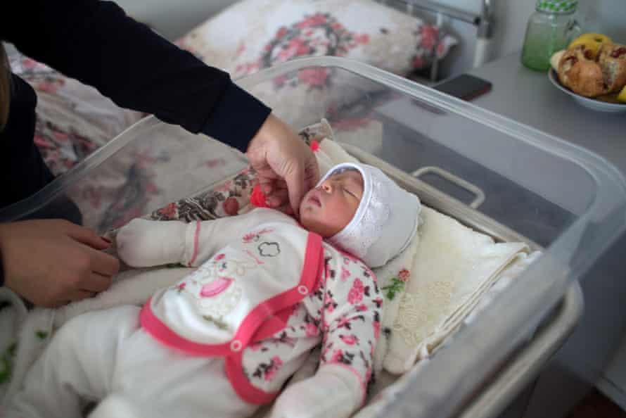 Hasmik Margaryan with her daughter Vika, born four days earlier, at the maternity ward in Sevan