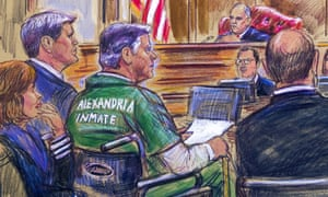 This courtroom sketch depicts former Trump campaign chairman Paul Manafort, center in a wheelchair, during his sentencing hearing in federal court before Judge TS Ellis.
