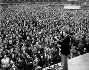 Thousands gather to hear him preach in Trafalgar Square, London, in 1954