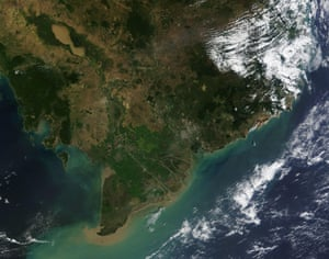 A satellite image of the Mekong Delta in Cambodia, 2016.