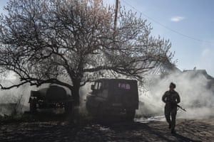 A Ukrainian soldier near the frontline in Mariinka as conflict continues in eastern Ukraine, where fighting with Russia-backed separatist rebels has killed more than 13,000 people since 2014.