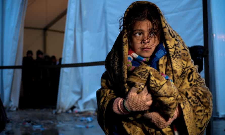 A young girl at the Vinojug reception centre for refugees and migrants in Gevgelija, on the border with Greece.