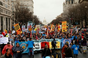 Indigenous leaders participate in a protest march and rally in opposition to the Dakota Access and Keystone XL pipelines in Washington in 2017.