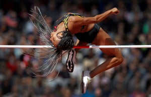Nafi Thiam of Belgium clears the bar in the high jump before going on to win the womens heptathlon during day two of the IAAF World Athletics Championships 2017 at the Olympic Stadium, London.