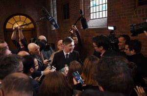 Jacob Rees-Mogg speaks to reporters