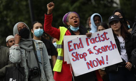 A Black Lives Matter protester makes a point about stop and search, London, June 2020.