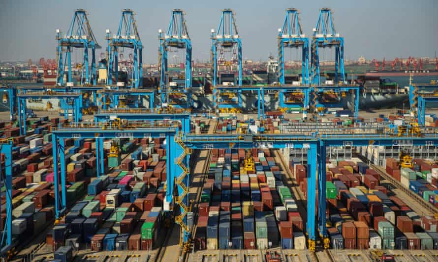 Shipping containers at a dock in Qingdao, China