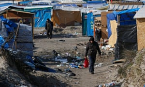 Makeshift shelters in the northern area of the refugee camp in Calais