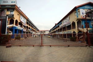 A closed shopping centre in Abuja on Monday morning, where authorities are to impose an even stricter lockdown from tonight to curb the spread of Covid-19