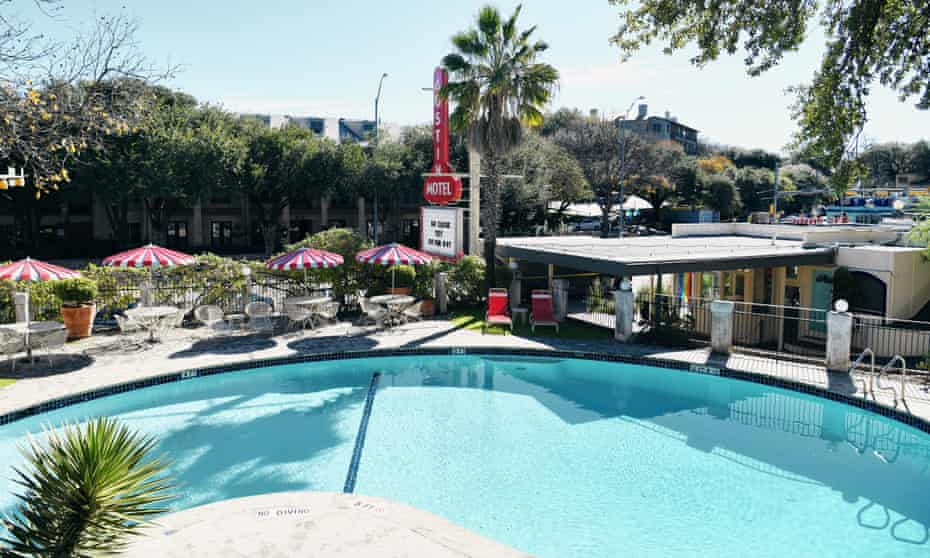 Exterior image of pool area at Austin Motel, Austin, Texas.