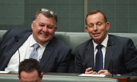 Liberal Member for Hughes Craig Kelly with Tony Abbott during Question Time in 2015.