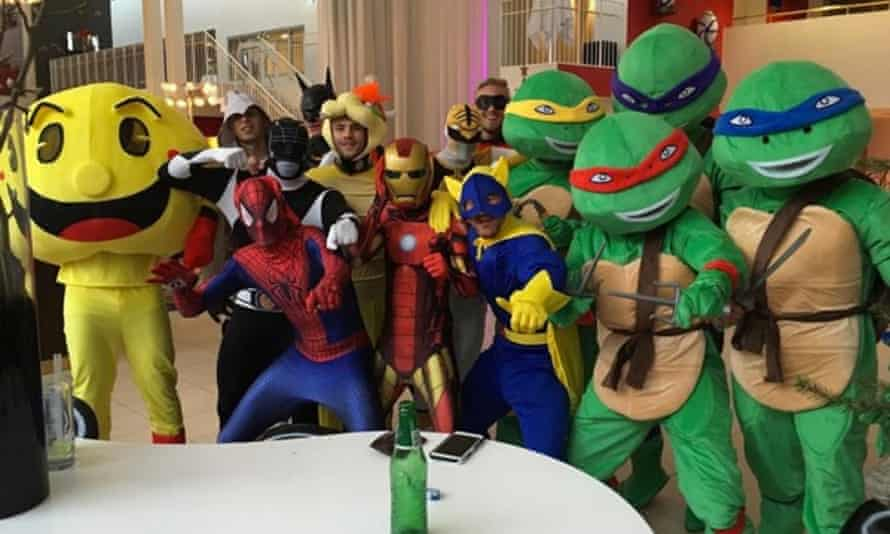 Kasper Schmeichel dressed as Robin and stood behind the Teenage Mutant Hero Turtles at Leicester's Christmas party in Copenhagen