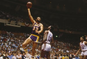 Kareem Abdul-Jabbar in 1982, during his career with the Los Angeles Lakers