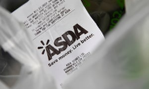 A receipt at an Asda store in west London.