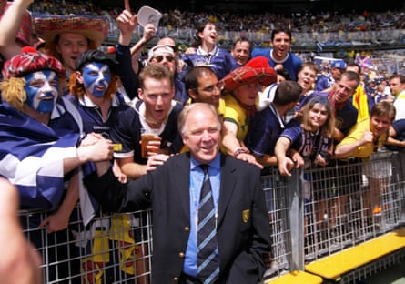 Scotland manager Craig Brown greets the fans before the game against Brazil at the 1998 World Cup in France.