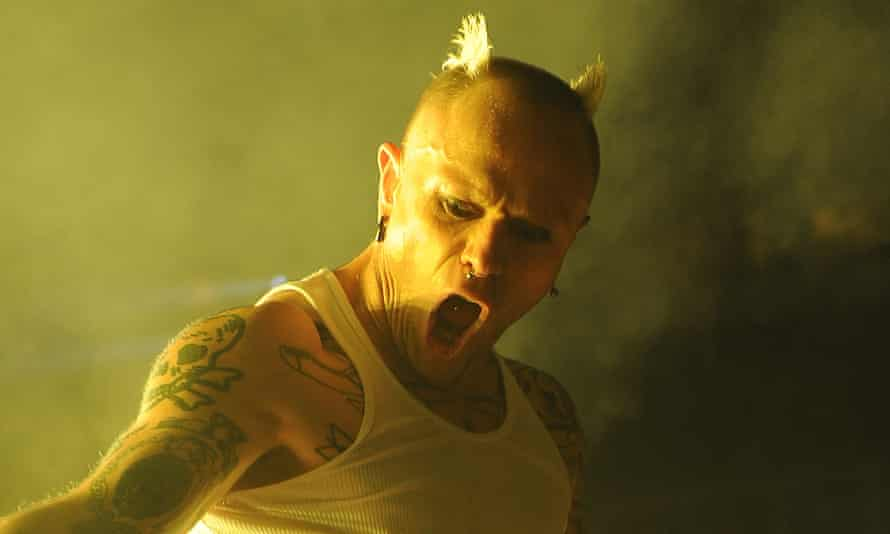 The Prodigy's Keith Flint channelling his trademark horns at a live performance in 2011.
