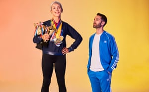 Joe Stone with his mother Karen Stone, holding her sporting trophies and medals