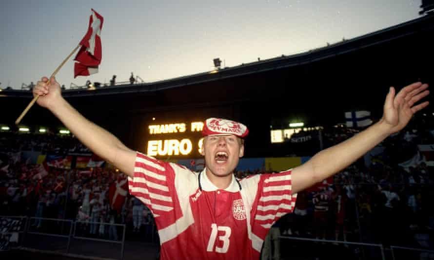 Henrik Larsen celebrates after beating Germany 2-0 in Gothenburg.