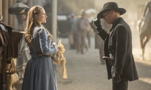 Evan Rachel Wood and Ed Harris in HBO's Westworld: 'haughty big skies, aching beauty and spitefully small human dreams'.
