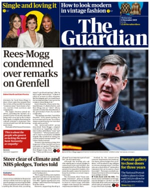 Guardian front page, Wednesday 6 November 2019
