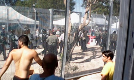 Protests on Manus Island in January 2015.