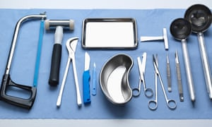 Medical instruments used in a postmortem