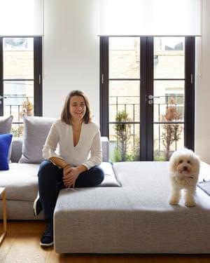 Happy at home: Afroditi Krassa and colour-co-ordinated companion.