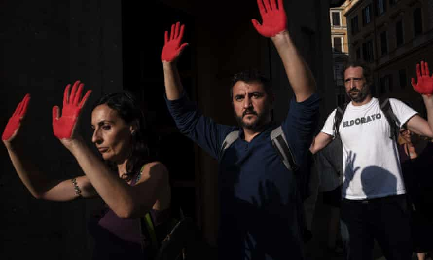 Protesters in Rome show their opposition to the anti-immigration policies of Matteo Salvini.