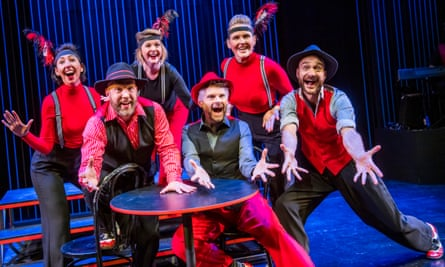From left to right: Lauren Shearing, Adam Meggido, Ruth Bratt, Andrew Pugsley, Pippa Evans and Justin Brett in Showstopper! The Improvised Musical at the Other Palace.