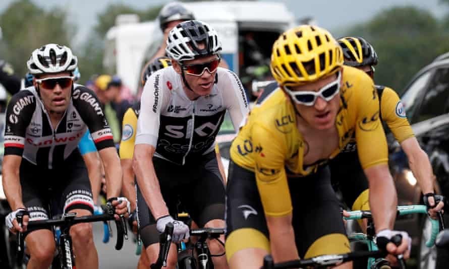 Chris Froome, centre, now plays the unusual role of support act to Geraint Thomas, right.