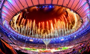 The big fireworks display at the end of the Olympics.