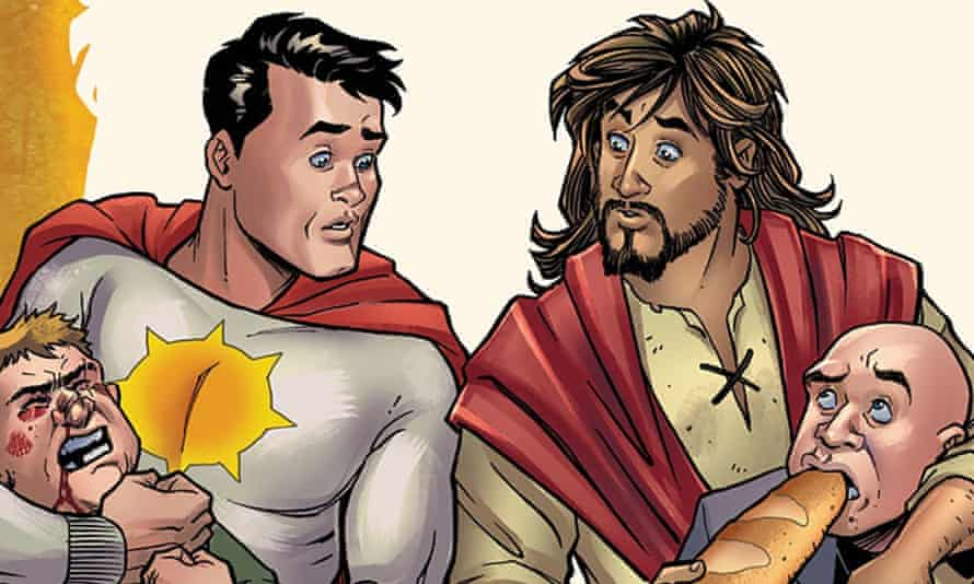Sun-Man and Jesus Christ in artwork for the cancelled Second Coming comic.