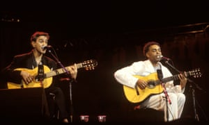 Caetano Veloso performs in 2004 with Gilberto Gil, who was also exiled in London with him during Brazil's military dictatorship.