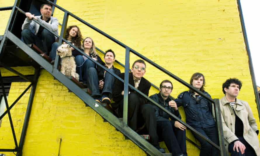 Wall of fame … Belle and Sebastian in 2010.