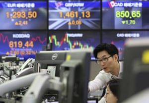 The foreign exchange dealing room of the KEB Hana Bank headquarters in Seoul, South Korea, Tuesday.