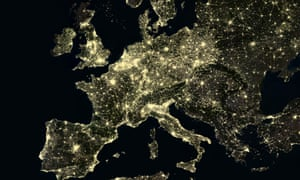 Western Europe at night, urban areas show bright clusters of light